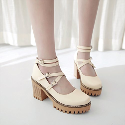 YE Women's Platform Chunky High Heel Court Shoes Ankle Strap Round Toe Pumps Beige cSsrK0k