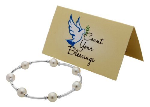 Count Your Blessings Bracelet, White Pearl -
