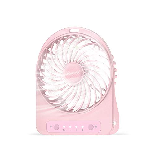 USB Fan Yoobao Portable Mini Rechargeable 2500mAh Battery Operated Personal Small Electric Fan 3 Wind Speed with LED Light Handheld Desk Fan for Office Room Outdoor Travel Hiking Camping Fishing-Pink