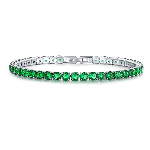 UMODE Jewelry Simulated Emerald Diamond 0.25ct Green Cubic Zirconia CZ Tennis Bracelet For Woman 6.5