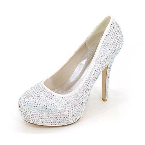 plataforma Up L Cómodo Zapatos Bodas Club White tacones cuero Y azul yc Zapatos Cristal Estilete Tacón Mujeres Light De Plateau partido noche qFZxBOCwq