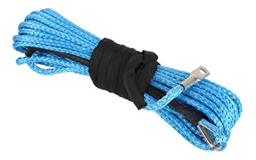 """Winch Wire Rope (Finnhomy 1/4"""" x 50' 12 Strand Winch Rope Dyneema Synthetic Off Road Towing Securing Wire Cable 5,000 lbs Fastness with 3.6 FT Sleeve and Thimble For ATV KFI UTV Vehicle Car Motorcycle Boat Blue)"""