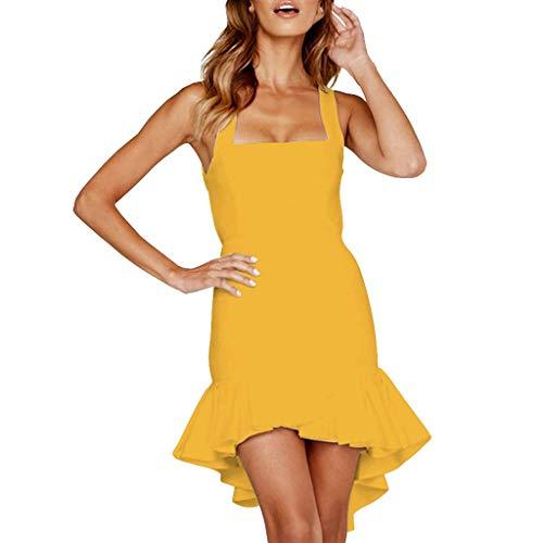 URIBAKE  Women's Warp Mini Dresses Sexy Backless Sleeveless Solid Ruffled Irregular Hem Summer Beach Sundress Mermaid Dress Yellow ()