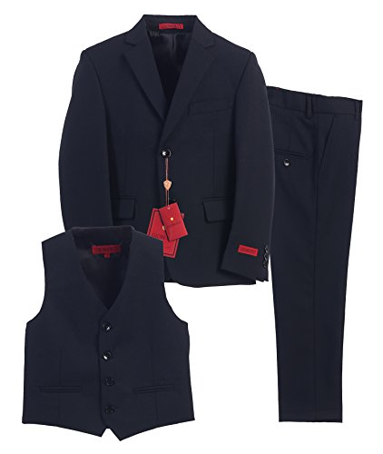 Gioberti Boy's Formal 3 Piece Suit Set, Navy, Size 10