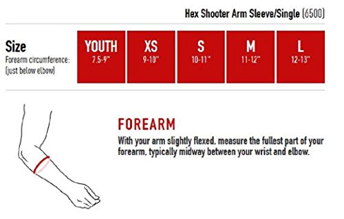 McDavid HEX Compression Shooter Arm Sleeve w/ Protective Elbow Pad for Basketball, Football, All Contact Sports, Single