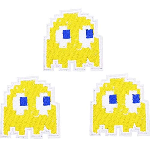 Pac-Man Ghost Iron on Patches for Kids Clothing, Jeans, Jackets