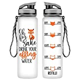 LEADO 32oz 1Liter Motivational Tracking Water Bottle with Time Marker - for Fox Sake Drink Your Effing Water - Funny Birthday Gifts for Women Friends, Wife, Mom, Daughter, Coworker - Drink More Water