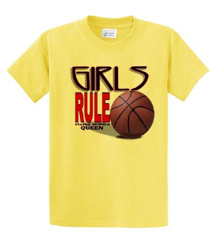 irls Rule Hardwood Queen Adult Tee-yellow-medium ()