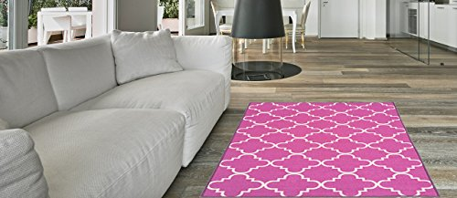 Maxy Home Hamam Moraccan Trellis Pink 2 ft. 8 in. x 9 ft. 10 in. Rubber Backed Runner Rug