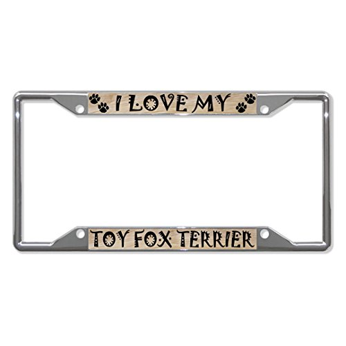 Toy Fox Terrier Dog Metal License Plate Frame Tag Holder Four Holes Perfect for Men Women Car garadge Decor