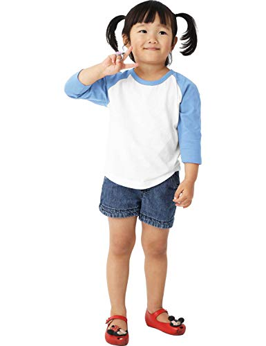 Ma Croix Infants Raglan 3/4 Sleeve Shirt Slim Comfort Fit Baseball Jersey Toddler Tee (06 Month, 5bh03_White/Carolina Blue)
