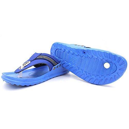 Angelliu Hombres Retro Casual Summer Travel Correa De Cuero T-strap Zapatillas Azul