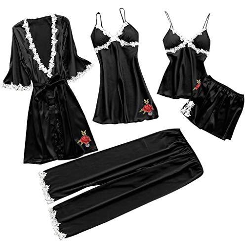 Fashion 5 Pcs Pajama Set for Women Satin Kimono Bathrobe Camisole Set for Mom Gift,Wedding Party Loungewear Nmch (Black-B,L)