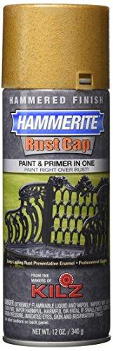 Masterchem Industries 41170 Hammerite Rust Cap Hammered Enamel Finish, 12 Oz Aerosol Can, 18 Sq.-Ft/Gal, Gold