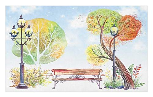 Lunarable Lantern Doormat, Colorful Fall Trees Wooden Bench in City Park with Blue Sky Autumn Season, Decorative Polyester Floor Mat with Non-Skid Backing, 30 W X 18 L inches, Orange Yellow Green