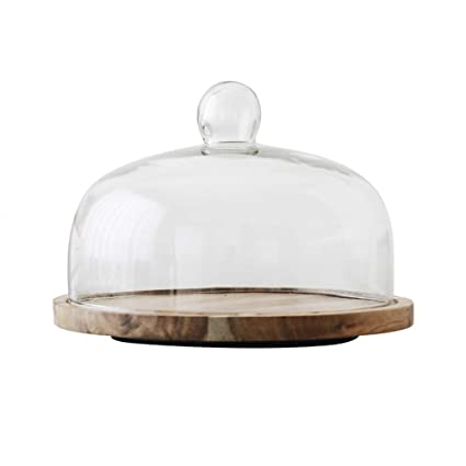 11 Inch Acacia Wood Cake Stand With Glass Dome Revolving Cake Decorating Stand Dessert Display