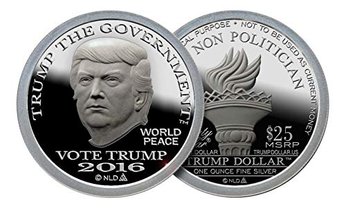2016 DONALD TRUMP SILVER DOLLAR COIN $25 1 TROY OZ. 999 $25 Brilliant Uncirculated
