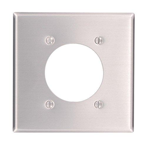Leviton 83026 2-Gang Flush Mount 2.15-Inch Diameter, Device Receptacle Wallplate, Standard Size, Device Mount, Aluminum (3)
