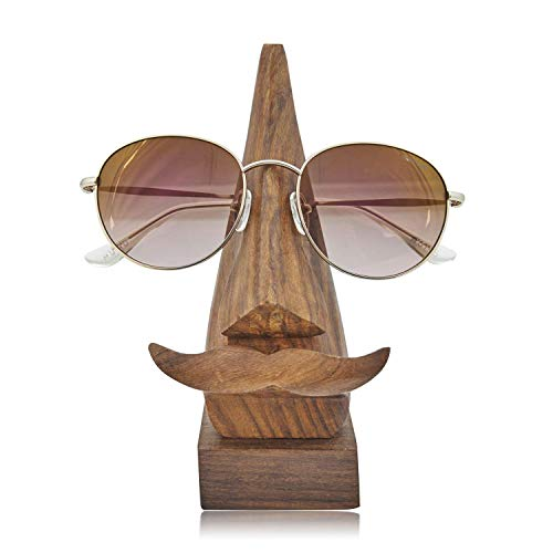 The Great Indian Bazaar Handcrafted Movember Rosewood Reading Glasses Stand Spectacle Stand or Eye Glass Holder Wooden Tabeltop Display Stand 6 Inches Birthday Housewarming Gift Ideas (Design 3) Art Deco Rosewood Table