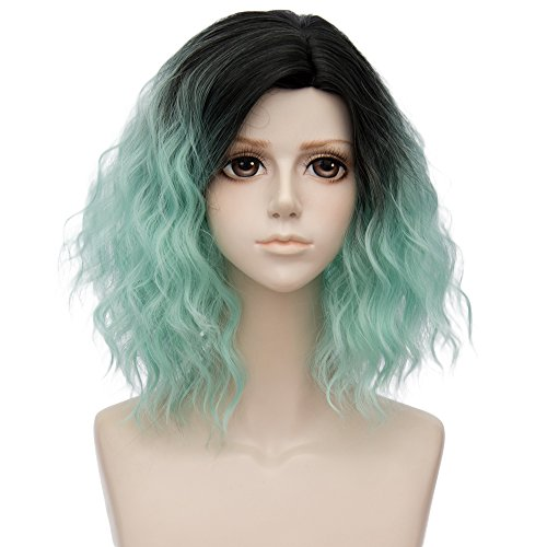 (Alacos 35cm Fashion Black Dark Roots Ombre Short Curly Bob Christmas Daily Costumes Wig for Women +Wig Cap (Light)