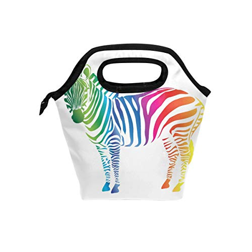 (Linomo Rainbow Color Zebra Print Lunch Box Insulated Lunch Bag, Cooler Lunchbox Lunch Tote Bag Handbag Reusable Bag for Kids School Office Work)