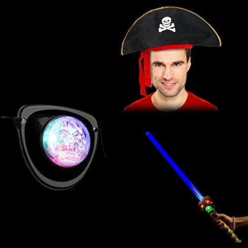 Fun Central BD050, 3 Pcs Pirate Party Pack, Pirate Costume Set - 1 Pc Multicolor LED Pirate Patch, 1 Pc Gold LED Graveyard Skull Sword with Sound, 1 Pc 20 Inches Deluxe Felt Pirate Hat