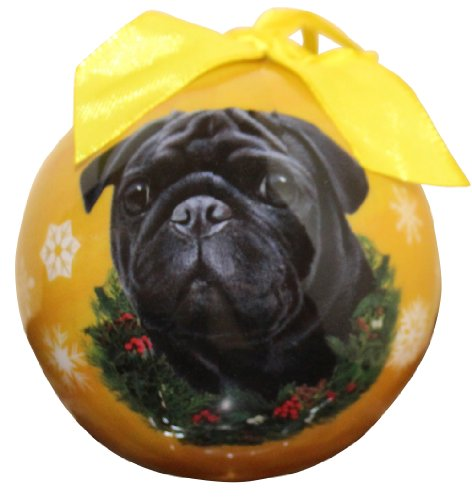 (Pug Christmas Ball Ornament Shatter Proof Ball Easy To Personalize A Perfect Gift For Pug Lovers)