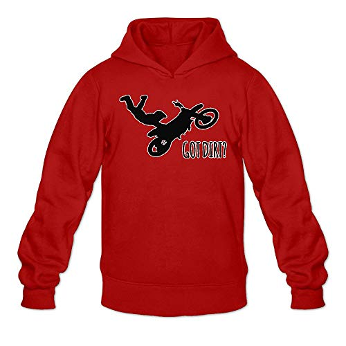 (Curry J Yasha Mens Classic Pullover Hoodie Got Dirt Motorcycle Race Cotton Hooded Sweatshirts Red)