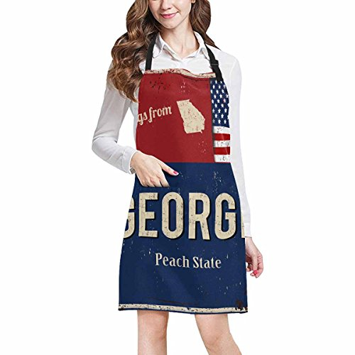 InterestPrint Greetings from Georgia Peach State with American Flag Adjustable Bib Apron with Pockets - Commercial Restaurant and Home Kitchen Adjustable Apron, Plus Size