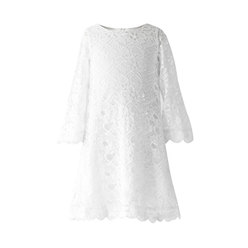 Funtrees Little Miss Lace Overlay A-Line Long Sleeve Dress Size 10-11 (Kids White Dress)