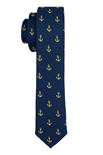 The Tie Hub Premium Anchor Ultra Thin Microfiber Slim Necktie for Men