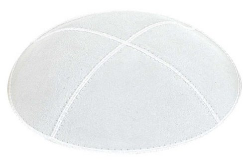 (Yofah Religious Articles Adult Suede Kippah Medium White)