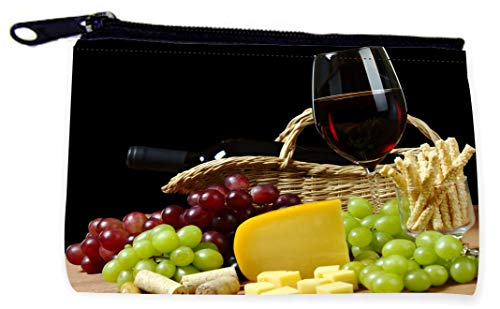 Sam Sandor - Zipper Coin Pouch - Camera Case - MP3 Case - Cheese and Wine in Hamper
