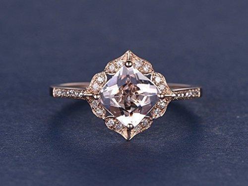 7mm Princess Cut Natural Pink Morganite Antique Engagement Ring Solid 14k Rose Gold Flower Floral Diamond Halo Vintage Wedding Ring Art Deco Bridal Set Anniversary Gift Square (Diamond Antique Ring Pink)
