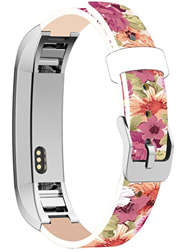 - Bands Replacement for Fitbit Alta HR, Cisland Compatible Straps Replacement for Fitbit Alta (HR) Silver Connectors + Color Pattern Oil Painting Background Flower