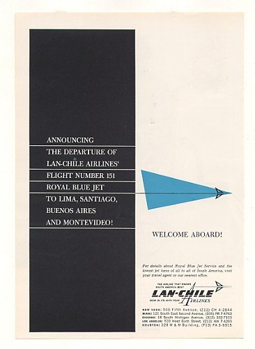 1964-lan-chile-airlines-flight-no-151-royal-blue-jet-original-print-ad