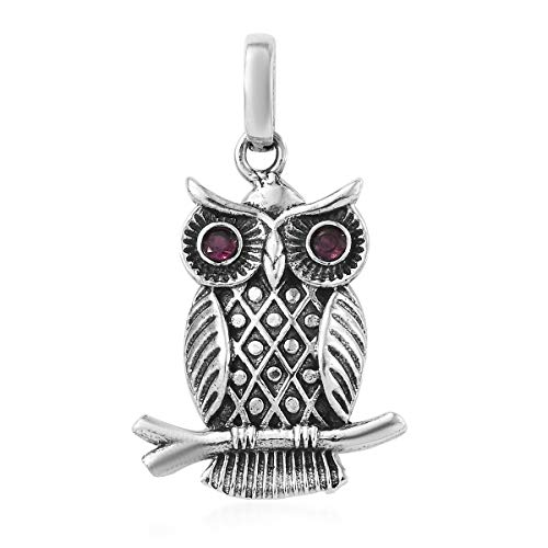 925 Sterling Silver Round Rhodolite Garnet Owl Pendant for Women Jewelry Gift Cttw 0.1