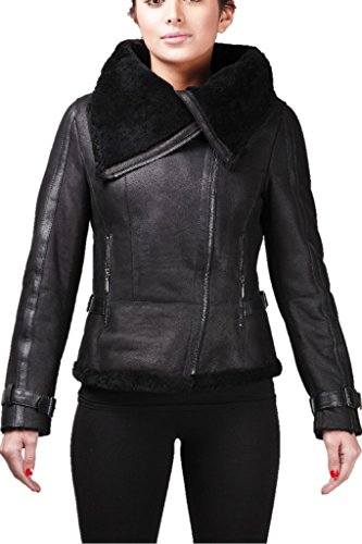 Black Leather Merino Shearling Jacket - Women's Short Black Vintage Merino Sheepskin Aviator Leather Jacket (UK-16 US-12)