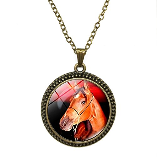Crystal Necklace Horse Head Vintage jewelry pendant Bronze Charm by Pretty Lee