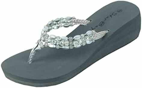 23032f941f0c The Bay Womens Fashion Wedge Sandals Thongs Flip Flop W Stones