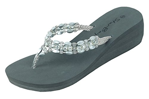 Thongs Womens Fashion 2307 Flip Stones Grey Wedge W Flop Sandals twPwCqp