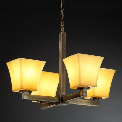 (Justice Design Group CNDL-8829-40-AMBR-DBRZ 4 Light Up Lighting Chandelier from The CandleAria Collection)