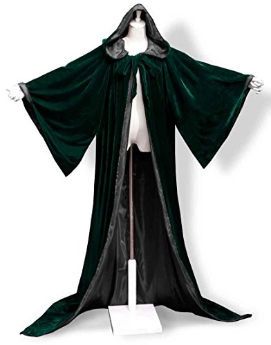 [ANGELWARDROBE Halloween Velvet Hood Cloak Wizard Robe Gothic G-Black XL] (Dark Link Costume Amazon)