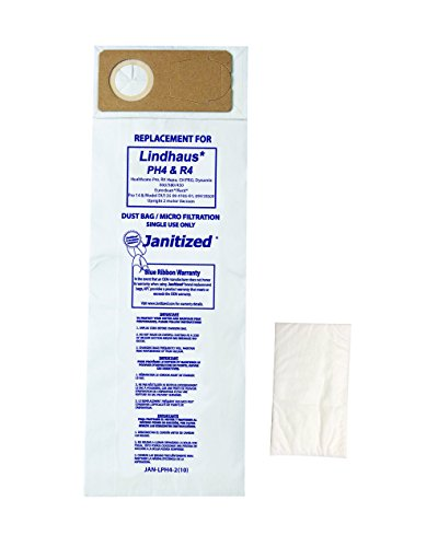 Janitized JAN-LPH4-2(10) Premium Replacement Commercial Vac Bag, Lindhaus Pro, Dynamic 300/380/450, OEM#PH4, R4, 141299001, 141296200 (Pack of 10)