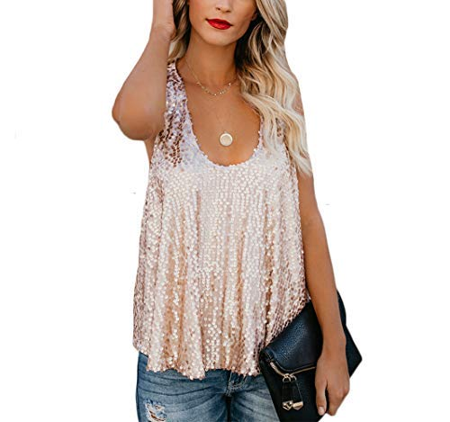 (Canrulo Women Sleeveless Tops Shimmer Sequin Embellished Sparkle Tank Tops Loose Fit Vest (XL, Rose Gold))