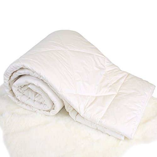 "Woolino Premium Australian Washable Wool Comforter, Mid-Weight Wool Fill 17.6oz Crib Wool Duvet Quilt Kids Blanket, Crib/Toddler Bed Size 37""x51"" from Woolino"