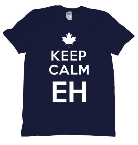 [Keep Calm Eh Canada Maple Leaf Mounties Uniform Tee Shirt For Our Neighbors Up North, Carry on Mens XXL navy] (Mountie Uniform)