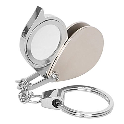 maxgoods 8X Mini Portable Folding Metal Magnifier Loupe Keychain Key Ring Magnifying Eye Glass Lens - Metal Mini Tool