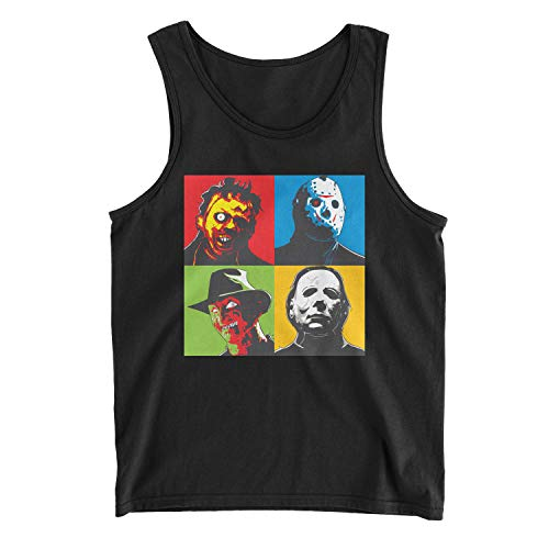 Men's Leatherface, Jason Voorhees, Freddy Krueger, and Michael Myers Halloween Horror Tank Top (2XL, Black) -