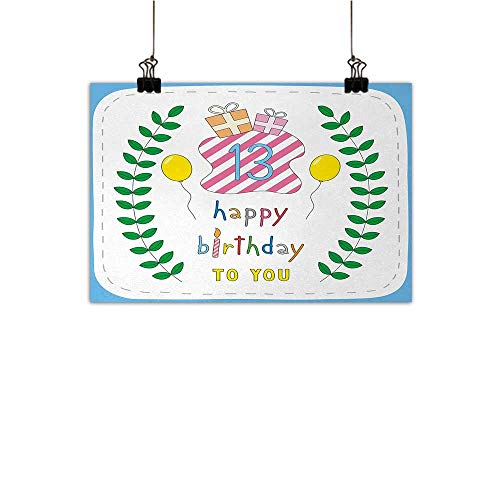 - Anzhutwelve 13th Birthday Light Luxury American Oil Painting Pastel Colored Hand Drawn Style Cute Composition Leaves Gifts and Balloons Home and Everything Multicolor 47